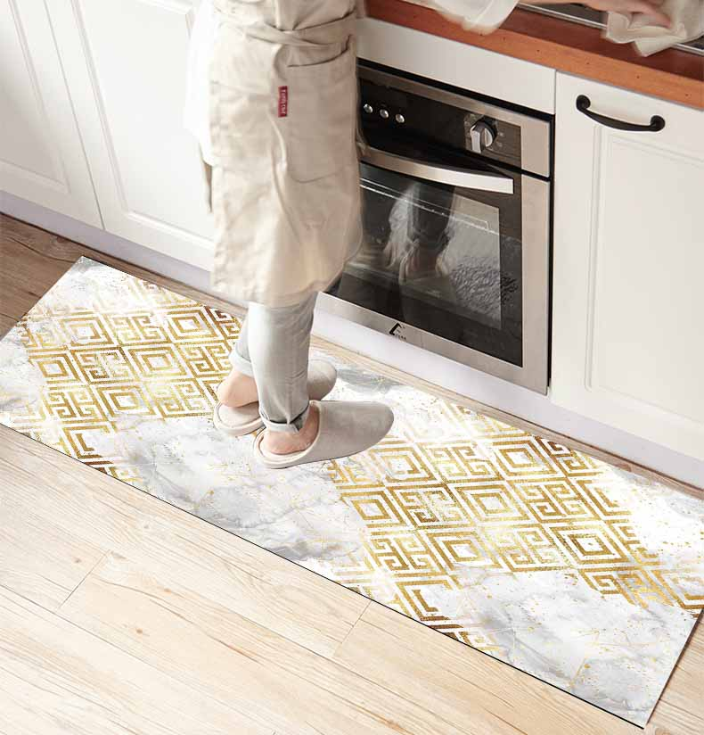 Else White Gray Clouds Yellow Ikat Geo 3d Print Non Slip Microfiber Kitchen Counter Modern Decorative Washable Area Rug Mat