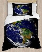 Innego przestrzeń Galaxy ziemi świata 4 sztuka 3D druku satyna bawełniana pojedyncze poszewka na kołdrę zestaw poszewka na poduszkę łóżko arkusz w Kołdra od Dom i ogród na