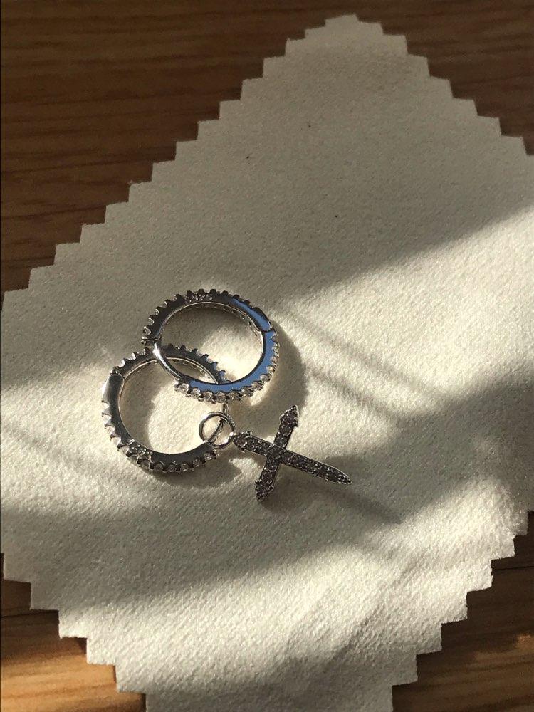 ANENJERY 925 Sterling Silver Mosaic Cubic Zircon Cross Pendant Earrings For Women Asymmetric Hoop Earrings S-E1093 photo review