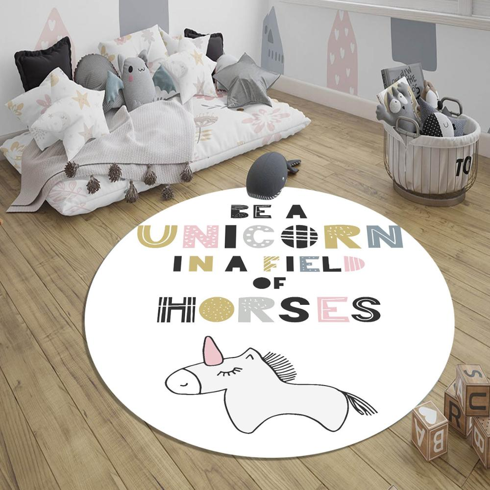 Else Colored Unicorn Gray Horses Girl 3d Pattern Print Anti Slip Back Round Carpets Area Rug For Kids Baby Children Room