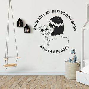 Кто я внутри? Силуэт стикер стены Искусство эстетическое украшение дома спальни комнаты A001350