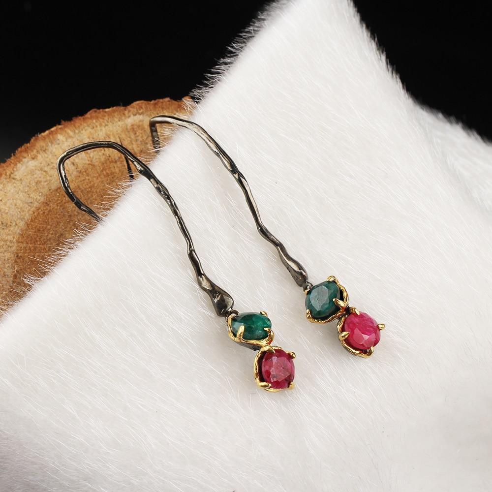 Женские Висячие серьги-капельки ручной работы, покрытые серебром и золотом, красный и зеленый нефрит, специальный дизайн, подарочные