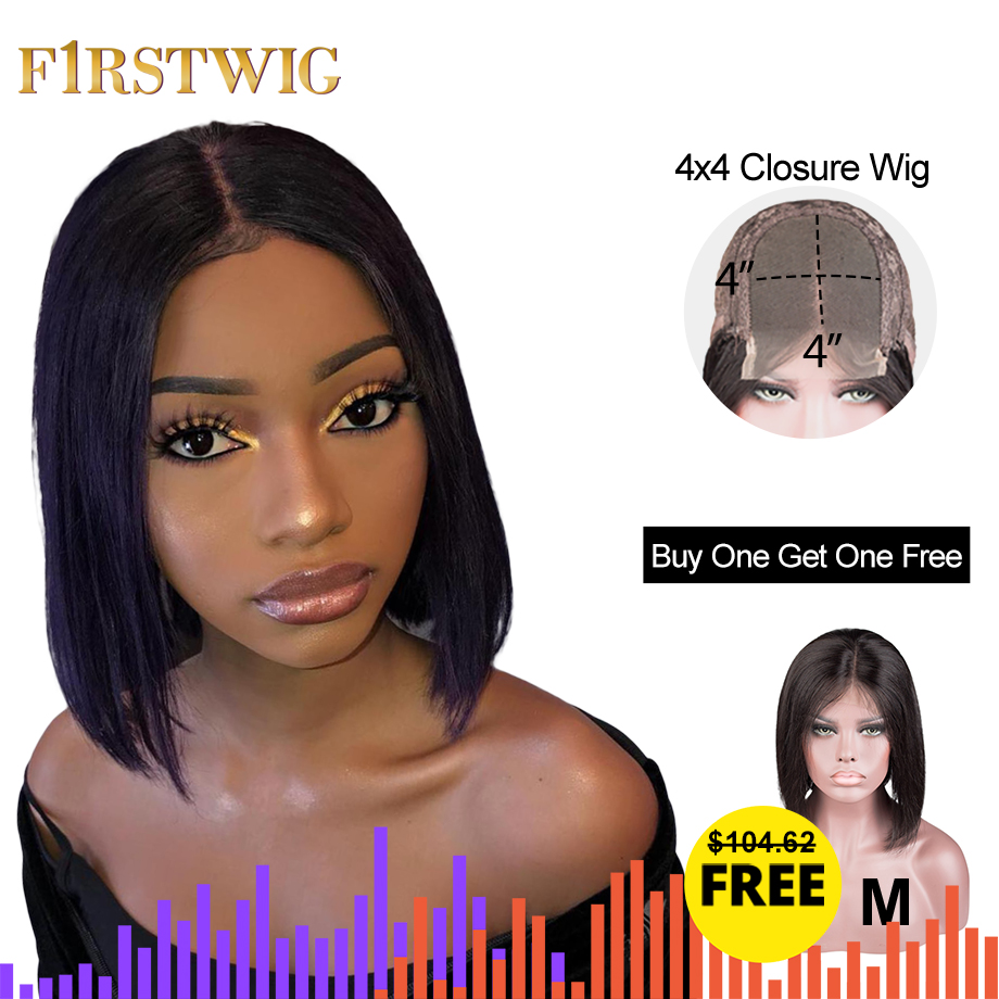 4x4 Lace Closure Wig Preplucked With Baby Hair Straight Short Bob Human Hair Wigs 130 Density Buy One Get One Free Firstwig