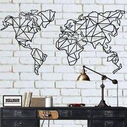 Carte du monde en métal Art mural | 2 pièces de carte du monde géométrique, décor mural en métal, signe en métal, décoration de bureau, de maison