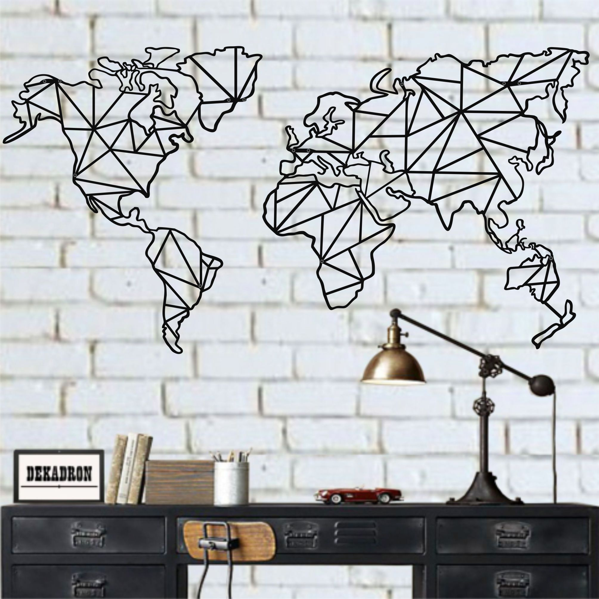 Metal World Map Wall Art, 2 Pieces Geometric World Map, Metal Wall Decor, Metal Sign, Home Office Decoration