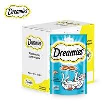 Лакомство для кошек Dreamies подушечки с лососем, 6 шт по 60г