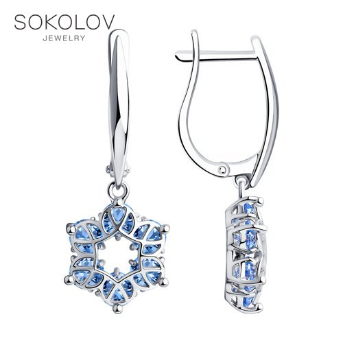 SOKOLOV Drop Earrings With Stones With Stones With Stones With Stones With Stones With Stones With Stones In Silver Fashion Jewelry 925 Women's/men's, Male/female