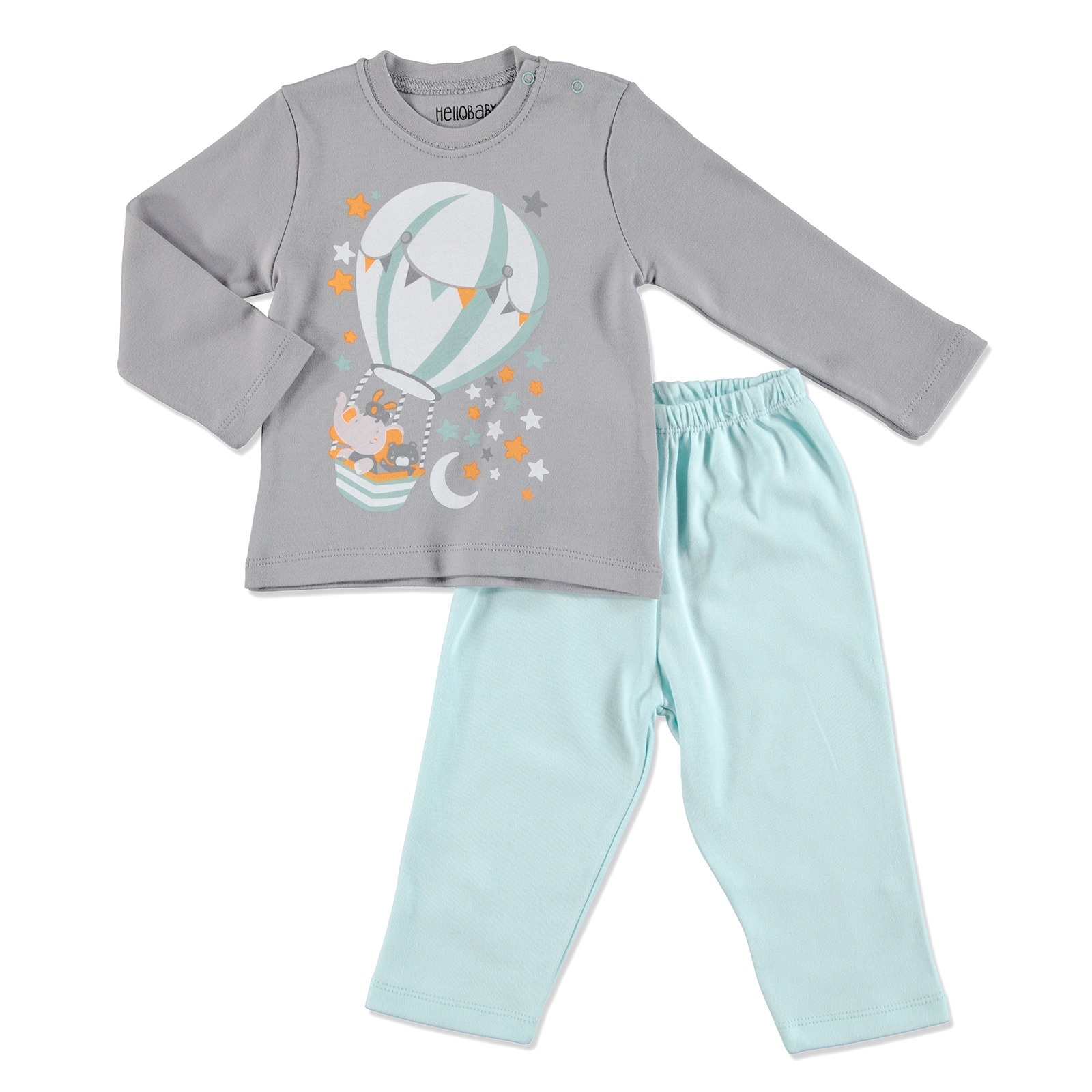 Ebebek HelloBaby Winter Baby Basic Printed Pyjama Set