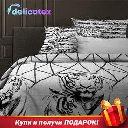 ชุดเครื่องนอน Delicatex 15836-1 + 15845-1Russiancats บ้านสิ่งทอเตียงแผ่นผ้าลินินเบาะครอบคลุมผ้านวม Рillowcase
