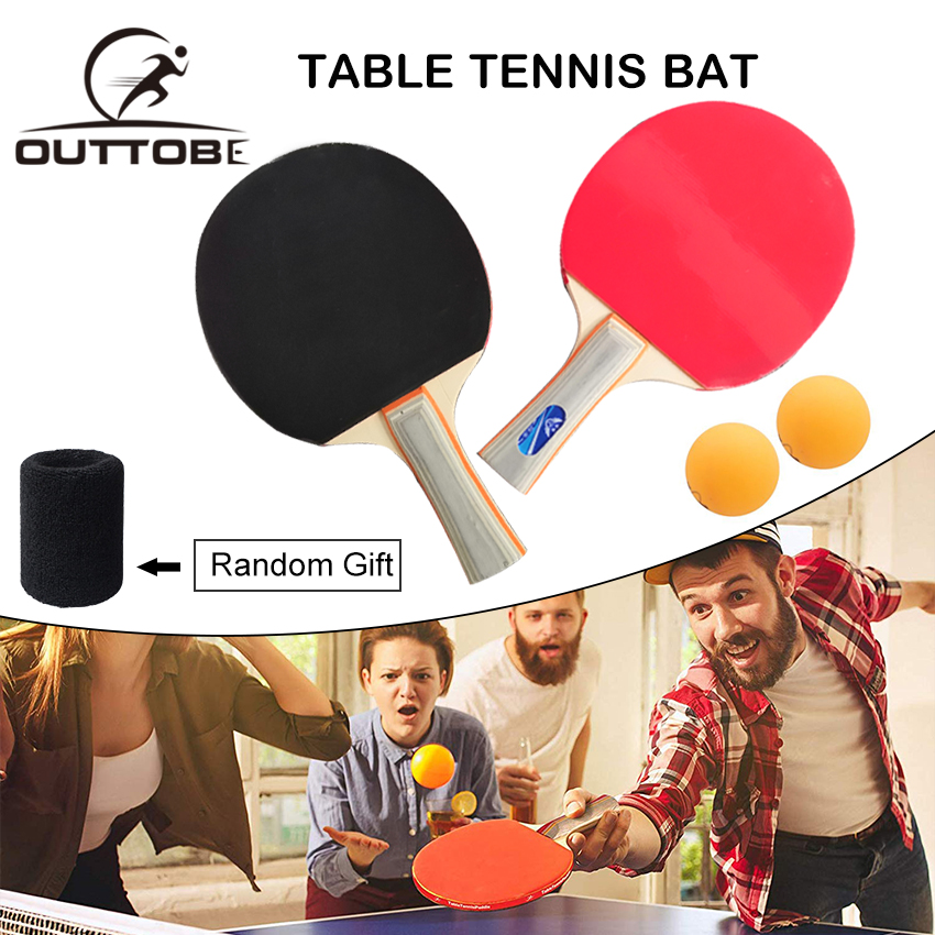 Outtobe Table Tennis Racket Ping Pong Paddle Set With 2 Bats And 2 Ping Pong Balls And Table Tennis Paddle Case