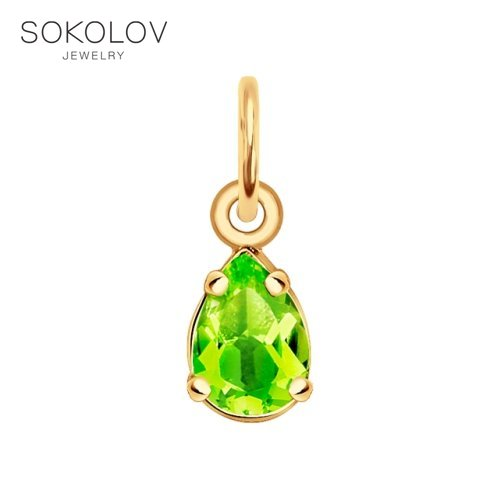Pendant SOKOLOV Gold Chrysolite Fashion Jewelry 585 Women's Male