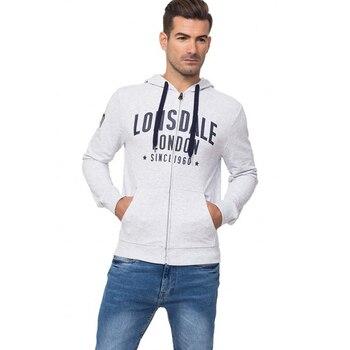Lonsdale man sweatshirt hooded and zipper fly color White gray Melange Spring Summer (18037) цена 2017