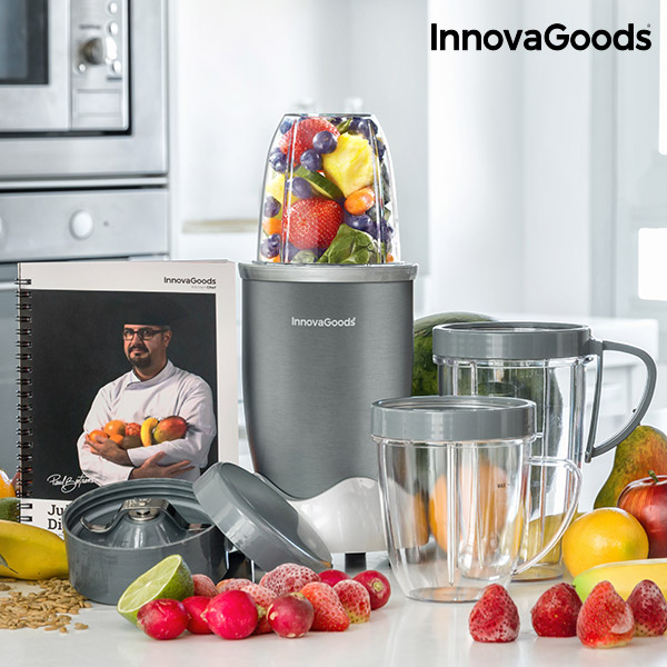 InnovaGoods One Touch Nutri-Blender With Recipe Book 600W Grey