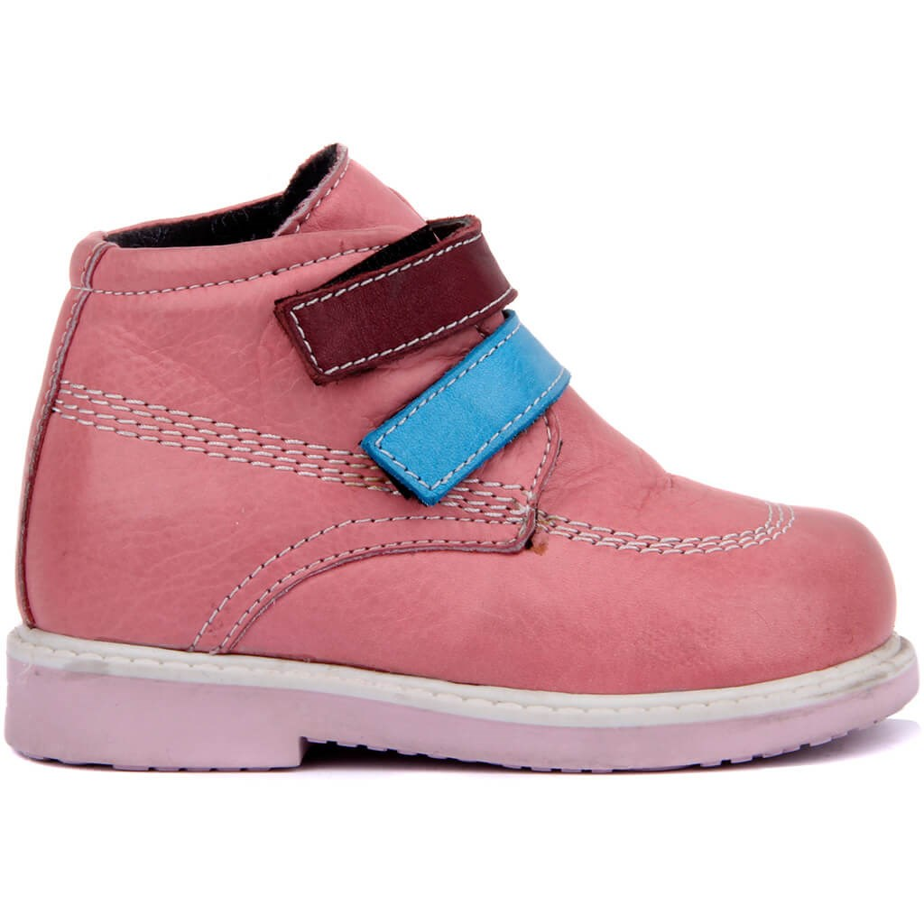 Sail Lakers-Pink Leather Velcro Baby Shoes