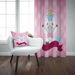آخر الوردي Funnt لطيف ليتل الخيول ثلاثية الأبعاد طباعة الاطفال طفل الأطفال ستائر نافذة مجموعة الستار الجمع بين كيس وسادة هدية
