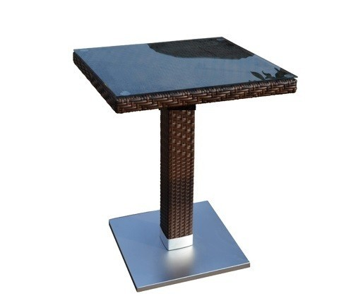 Table CANDICE, Aluminum, Rattan Chocolate, 80x80 Cms