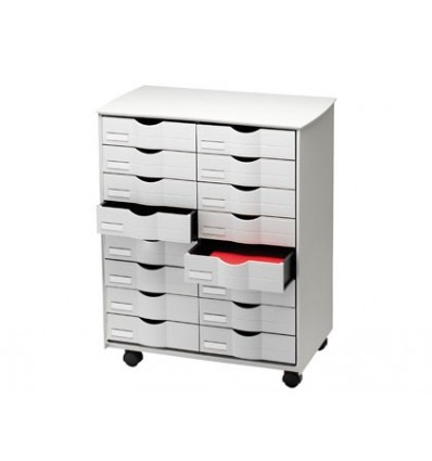 AUXILIARY FURNITURE FAST-PAPERFLOW FOR OFFICE BLACK 16 DRAWERS IN 2 COLUMNS GRIS5X382 71,5X58X34,3 CM