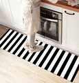 Else สีดำสีขาวสแกนดิเนเวียนเส้นลาย 3D พิมพ์ Non SLIP ไมโครไฟเบอร์เคาน์เตอร์ครัวโมเดิร์นตกแต่งล้างท...