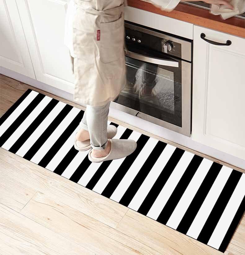 Else Black White Scandinavian Lines Stripes 3d Print Non Slip Microfiber Kitchen Counter Modern Decorative Washable Area Rug Mat