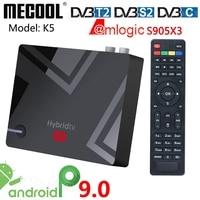 MECOOL K5 DVB T2 S2 TVBOX 2G 16G Smart Tv Box Android 9.0 Amlogic S905X3 2.4G 5G WIFI LAN Media player Dual Wifi registrazione PVR