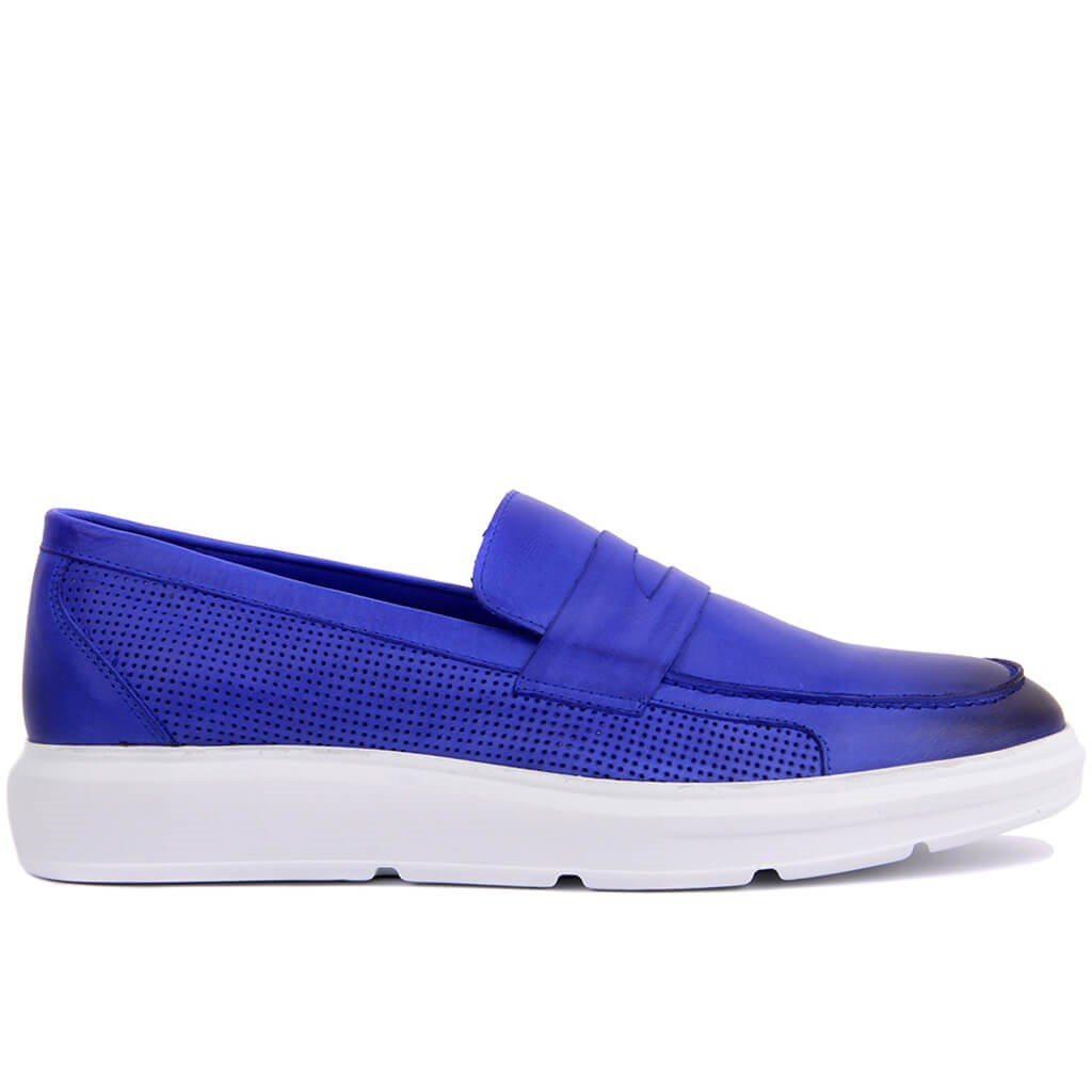 Sail-Lakers Saks Blue Leather Men 'S Shoes