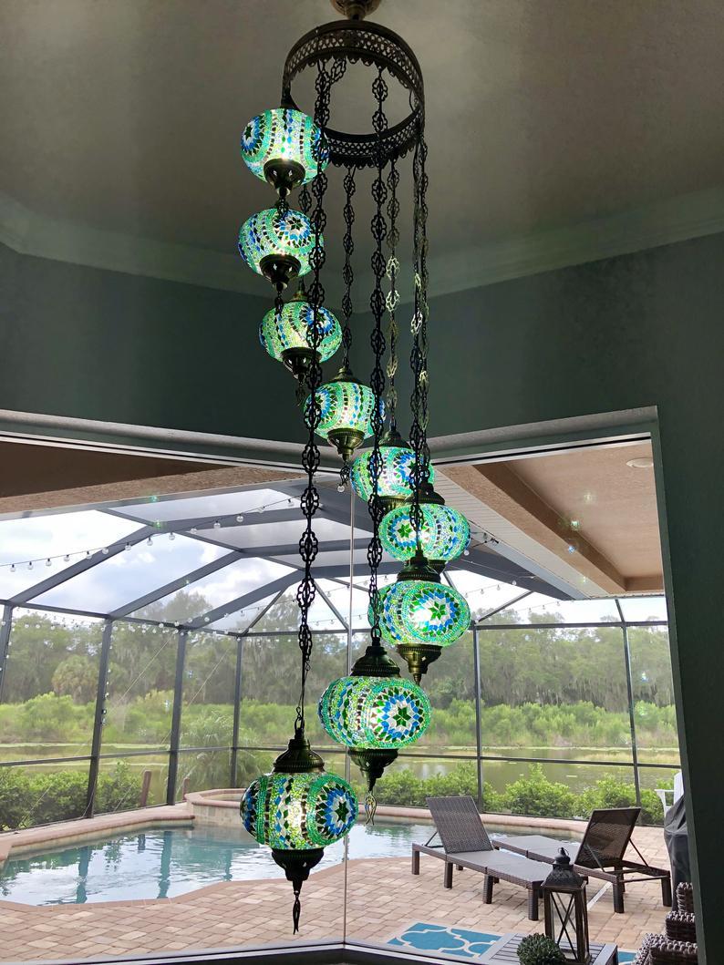 Green 9 Ball Housewares, Mosaic Lamp, Turkish Mosaic Lamp, Lighting, Chandelier, Glass Mosaic Lamp, Hanging Lamp,