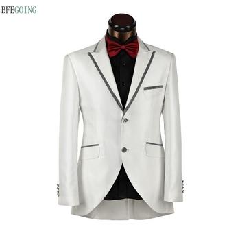 Kości słoniowej regularne pojedyncze piersi pana młodego nosić garnitur weselny panny młodej Tuxedo + spodnie wykonane na zamówienie tanie i dobre opinie BFEGOING Poliester Mieszkanie Custom size Zipper fly Smokingi Groom wear Satin