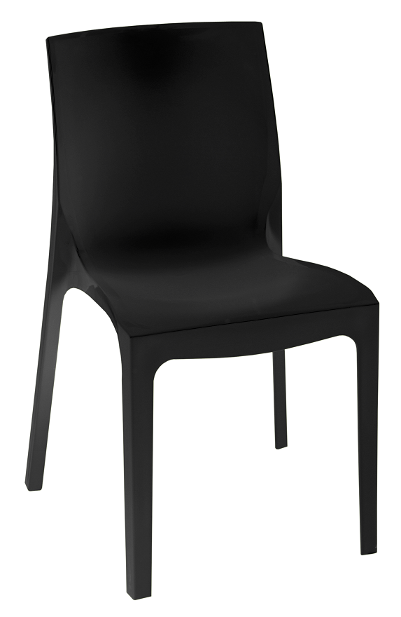 Chair EMY, Stackable, Black Polypropylene