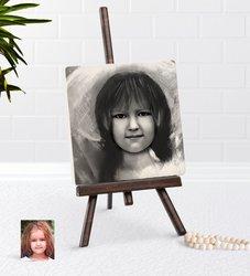 Personalized Female Child Charcoal Artistic Portrait Design Şovaleli Natural Taş-4