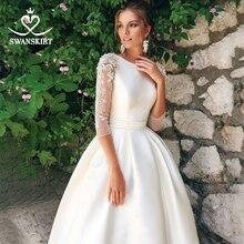 高級ビーズのウェディングドレス 2020 swanskirt 真珠スリーブサテン a ラインレースアップ花嫁栽培王女 vestido デ noiva SW01