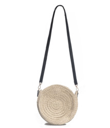 Jute Straw Leather Strap Detailed Round Knitted Beige Summer Stylish Casual Women Bag
