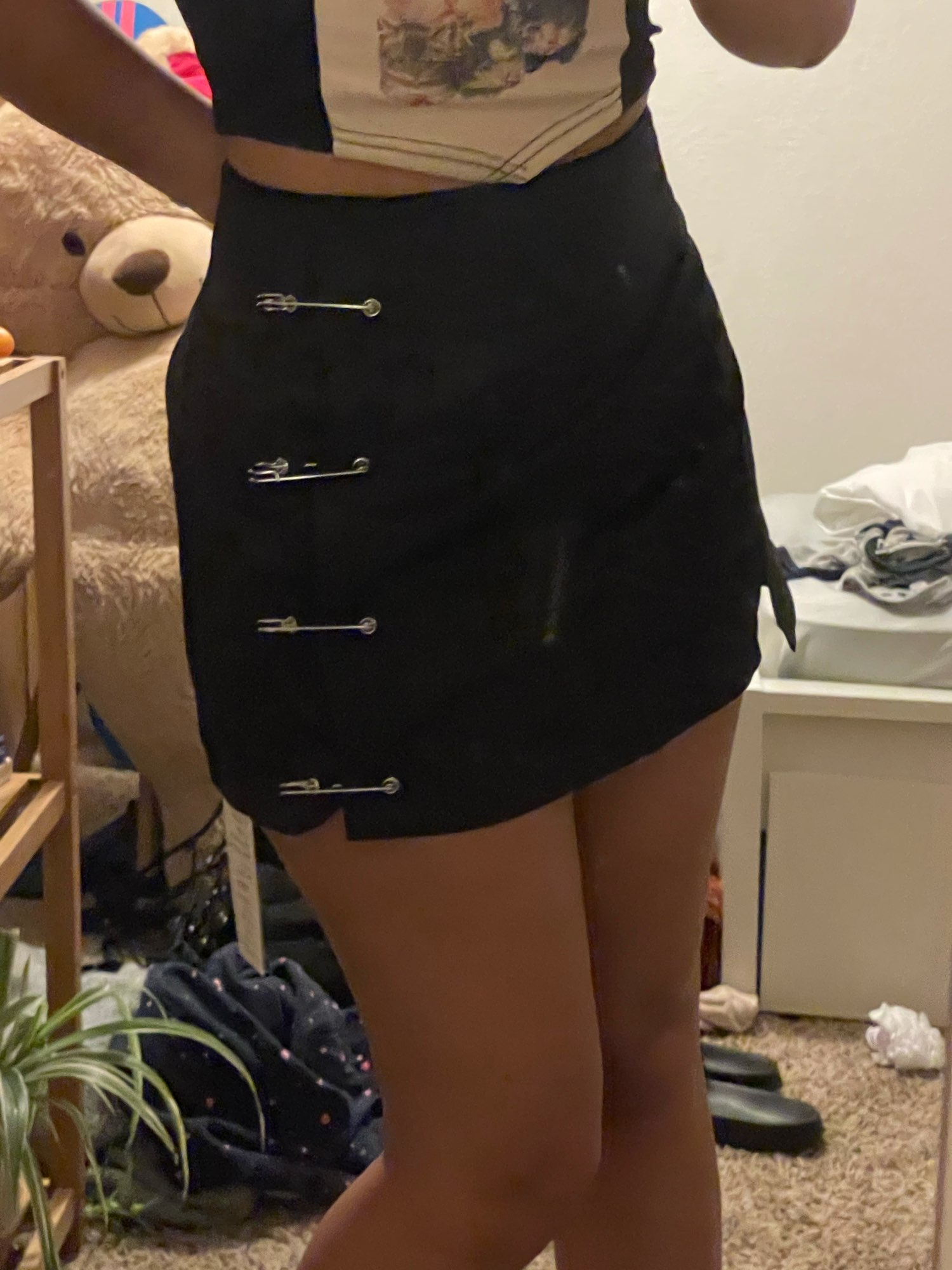 Punk style Mini Skirt with pins photo review