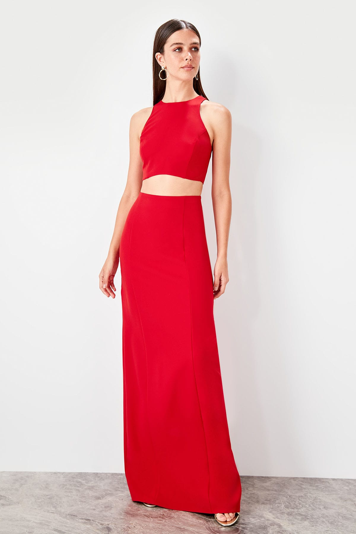 Trendyol Waist Low-Cut Evening Dress TPRSS19AE0080