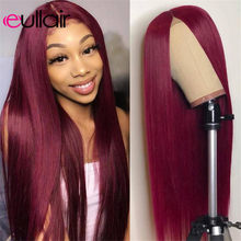 eullair Burgundy Lace Front Wig Colored Red Human Hair Wigs 1B99J 13x4 Remy Wigs For Black Women 150 Density PrePlucked Hairline(China)