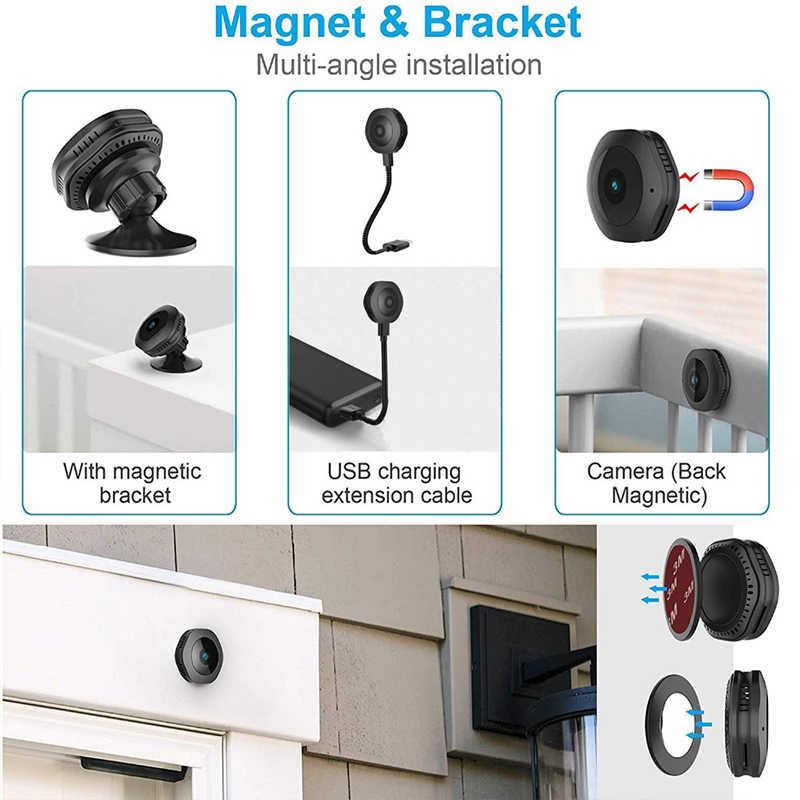 Mini cámara inalámbrica WiFi HD 1080P, portátil de seguridad para el hogar, pequeña cámara secreta con movimiento activado, visión nocturna, Espion oculto