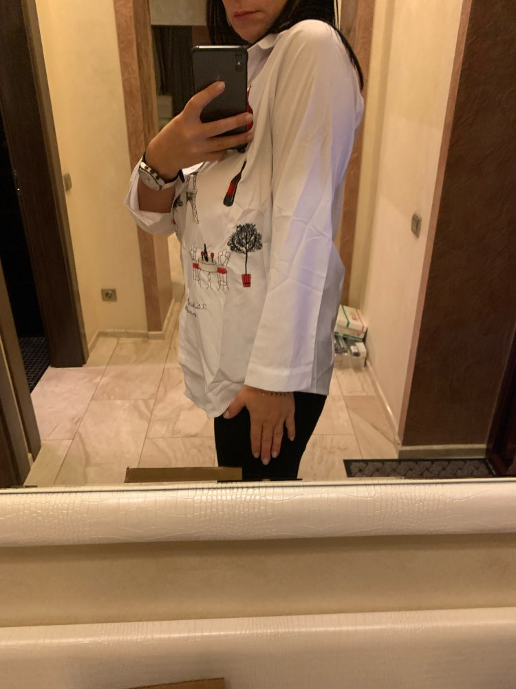 New White Shirt Casual Wear Button Up Turn Down Collar Long Sleeve Cotton Blouse Embroidery Feminina Hot Sale photo review