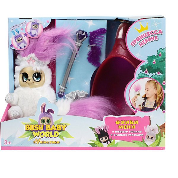 Interactive Soft Toy 1Toy Bush Baby World Puhastiki Princess Melina, 18,5 Cm