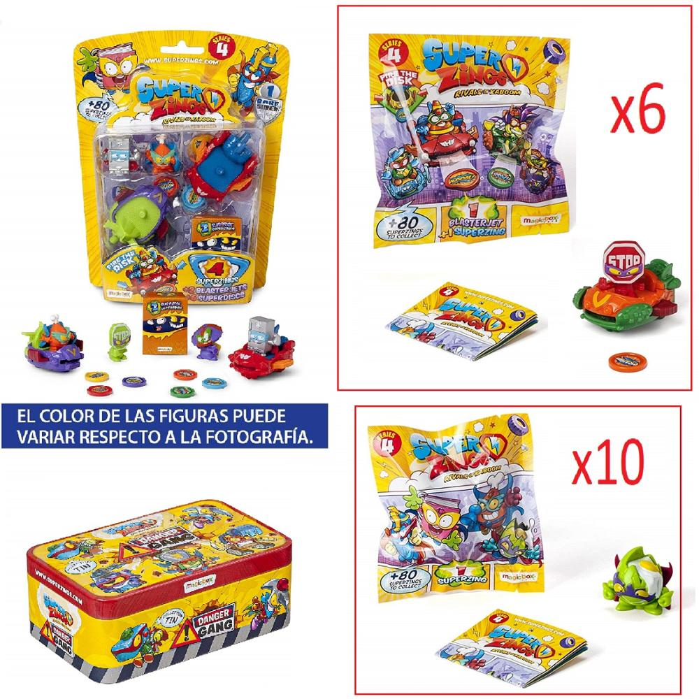 SuperZings Series 4-Pack Surprise With 18 Sets-1 Blister BlasterJet-10 Envelopes One Pack, 6 BlasterJets And 1 Tin Danger Gang