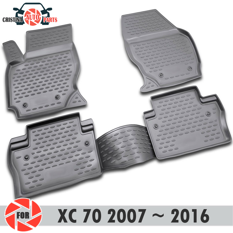 Floor mats for <font><b>Volvo</b></font> XC70 2007~2016 rugs non slip polyurethane dirt protection interior car styling <font><b>accessories</b></font> image