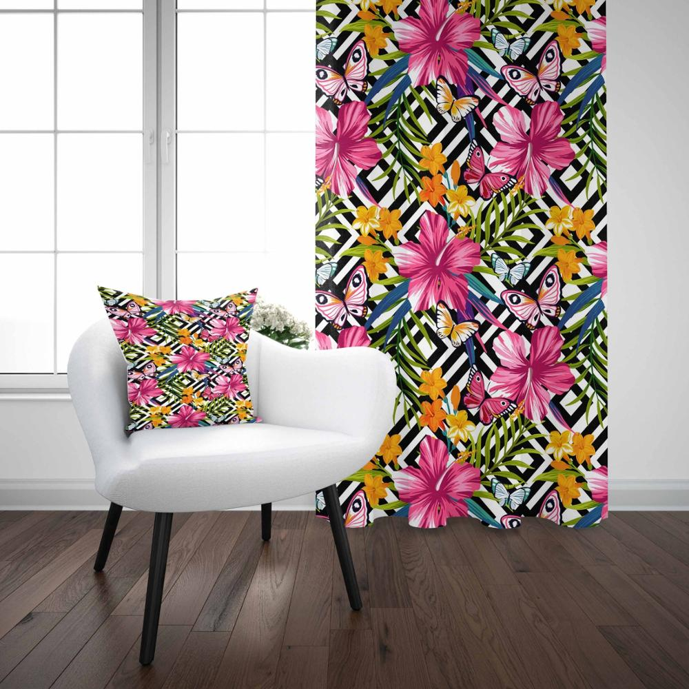 Else Black White Ogee Ikat Design On Colored Flowers 3D Print Living Room Bedroom Window Panel Curtain Combine Gift Pillow Case