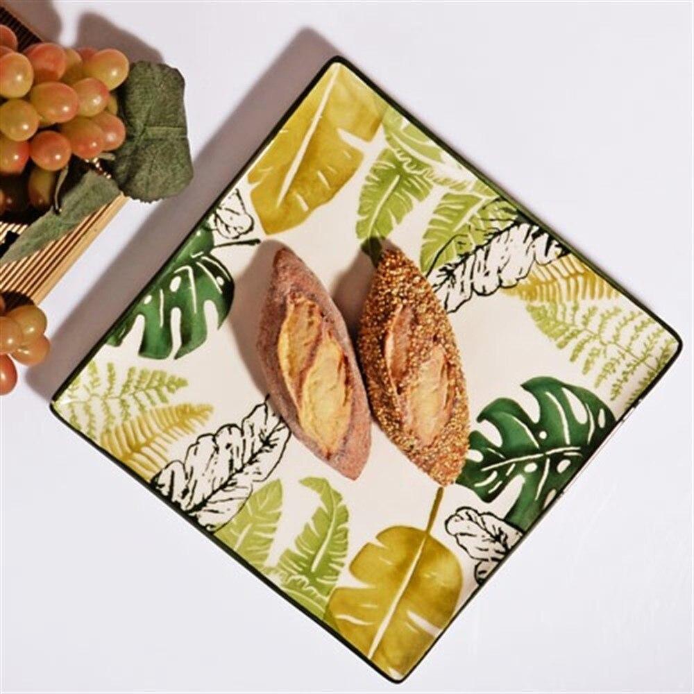 Assiettes de Service luxueuses en porcelaine | À motifs tropicaux Squarish, vaisselle de table, plat à Dessert, Service de table, gâteau 6 pièces