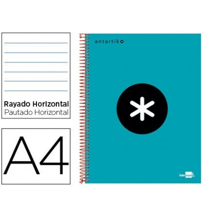 SPIRAL NOTEBOOK LEADERPAPER A4 MICRO ANTARTIK LINED TOP 120H 100 GR HORIZONTAL 5 BANDS 4 DRILLS TURQUOISE
