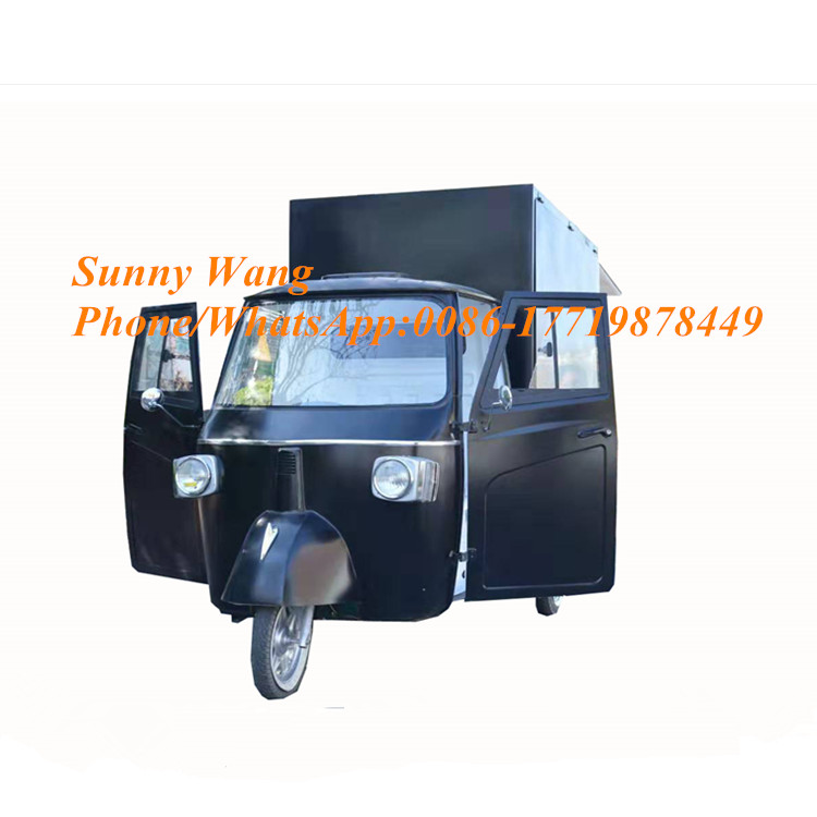 Concession High Quality BBQ Fast Food Cart Hamburgers Food Tricycle Sales Ape Piaggipo Truck