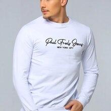Beyaz Bisiklet Yaka Uzun Kollu Ön Baskılı Erkek kazak İlkbahar Sonbahar Kış Erkek Giyim Giysi Erkek hoodies