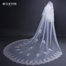 Wedding-Dress Veil Vestido-De-Noiva BECHOYER Bride-Gown Tulle Lace Appliques Customized