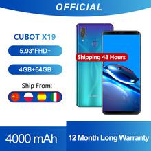 Cubot-Smartphone X19 z 8-rdzeniowym procesorem Helio P23 5 93-calowy wyświetlacz 2160*1080 Full HD + bateria 4000 mAh 4GB + 64 GB rozpoznawanie twarzy USB typ C gradientowy księżycowy kolor tanie tanio Nie odpinany CN (pochodzenie) Android Rozpoznawania linii papilarnych Rozpoznawania twarzy Inne 16MP Nonsupport Smartfony