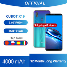 "Cubot X19 Smartphone Helio P23 אוקטה ליבות 5.93 ""2160*1080 FHD + תצוגת 4000mAh 4GB + 64GB פנים מזהה סוג C דמדומים שיפוע צבע"