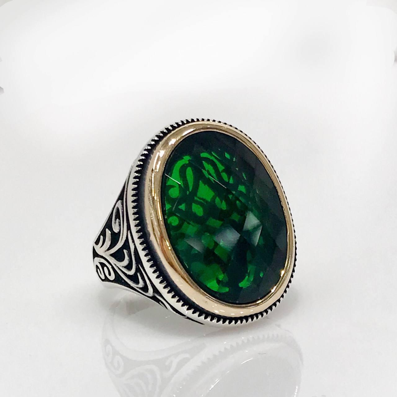 Green Zircon Oval Handwork Silver Men 'S Ring