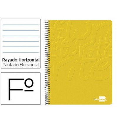 SPIRAL NOTEBOOK LIDERPAPEL FOLIO WRITE SOFTCOVER 80H 60GR HORIZONTAL WITH MARGIN COLOR YELLOW 10 Units