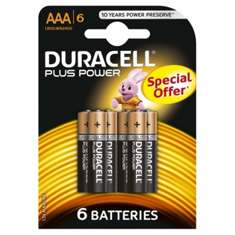 BATTERY DURACELL POWER PLUS AAA LR03 PACK 6